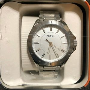 FOSSIL SILVER DIAL STAINLESS STEEL MEN'S WATCH